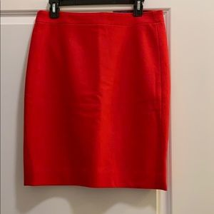 Jcrew red wool pencil skirt